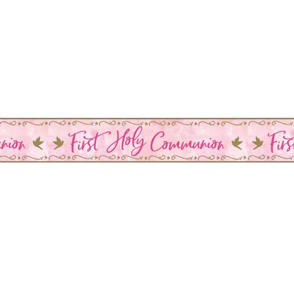 Pink First Holy Communion Foil Banner